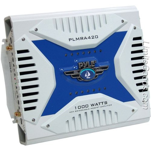 (Pyle Hydra Marine Amplifier - Upgraded Elite Series 1000 Watt 4 Channel Bridgeable Amp Tri-Mode Configurable, Waterproof,  MOSFET Power Supply, GAIN Level Controls and RCA Stereo Input(PLMRA420))
