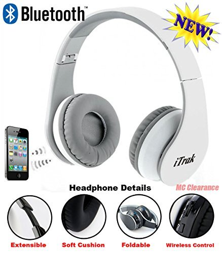 iTrak Wireless Bluetooth Headphone; Over Ear; Foldable; Noise Canceling; Audio Streaming & Call Microphone + USB Charging & Aux In Cable BTH024WMO (White)