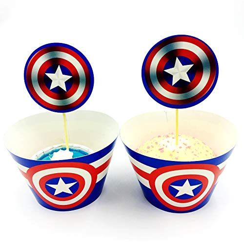 12pc Captain America Cupcake Topper and Cupcake Wrapper Picks Boy Children Superhero Party Decoration Kid's Birthday Avengers Party Decoration -