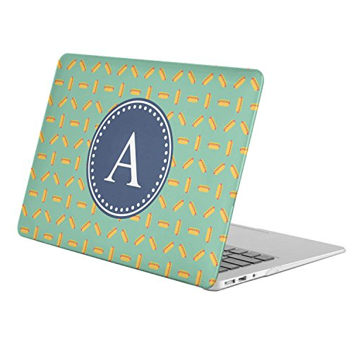 [ A - INITIAL ] [ Name Monogram Full Body Hard Case ][ Apple MacBook Air 13'' (Model: A1369 / A1466 ) ] - [ Fast Food Pattern ] by KoolMac