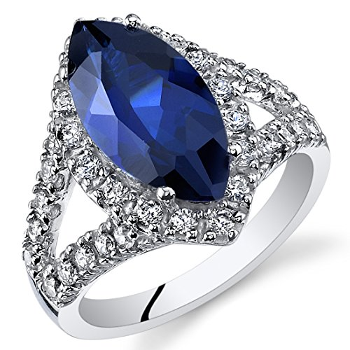 3.50 Carats Marquise Cut Created Blue Sapphire Ring Sterling Silver Size 7