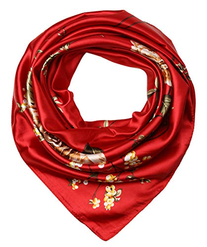 (Women's Satin Square Silk Feeling Hair Scarf 35 x 35 inches Flowers Carnelian by corciova)