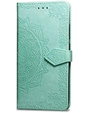 Oihxse Funda con Moto G6, Cuero PU Billetera Cierre Magnético Flip Libro Folio Tapa Carcasa Relieve Soporte Plegable Ranuras para Tarjetas Protección Caso(Verde)
