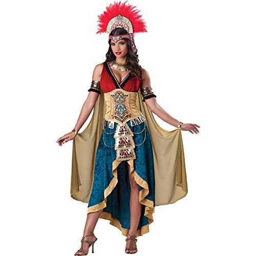 Feather Cape Costume (InCharacter Costumes Women's Mayan Queen, Gold/Blue, Small)