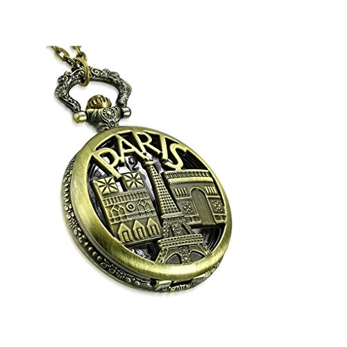 NRG 316L Jewelry Fashion Antique Vintage Notre Dame Cathedral & Paris Eiffel Tower Circle Charm Locket Watch Necklace from NRG 316L Jewelry