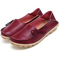 adibosy Mujer Slip On Flats Controladores de piel Casual Comfort zapatos Barco Cordones Calzado