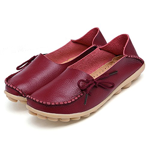 Adibosy Women Slip On Flats Leather Casual Loafers Oxfords Shoes Burgundy 9
