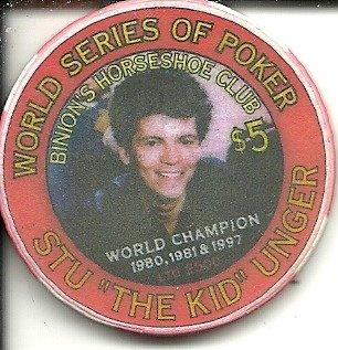 $5 binion's horseshoe 1999 stu ungar world series of poker las vegas casino chip