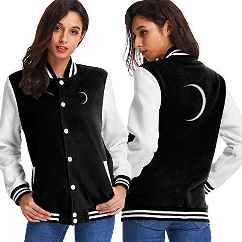 Total Eclipse Observe Safely Moon Women's Long Sleeve Baseball Jacket Baseball Boyfriend Jacket Black