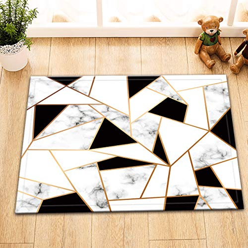 LB Abstract Geometric Rug,Black and White Gold Marble Pattern Ink Texture Marble Bathroom Rug 16x24 Inch Non-Slip Indoor Outdoor Bathroom Welcome Mat (Rug Texture Black)