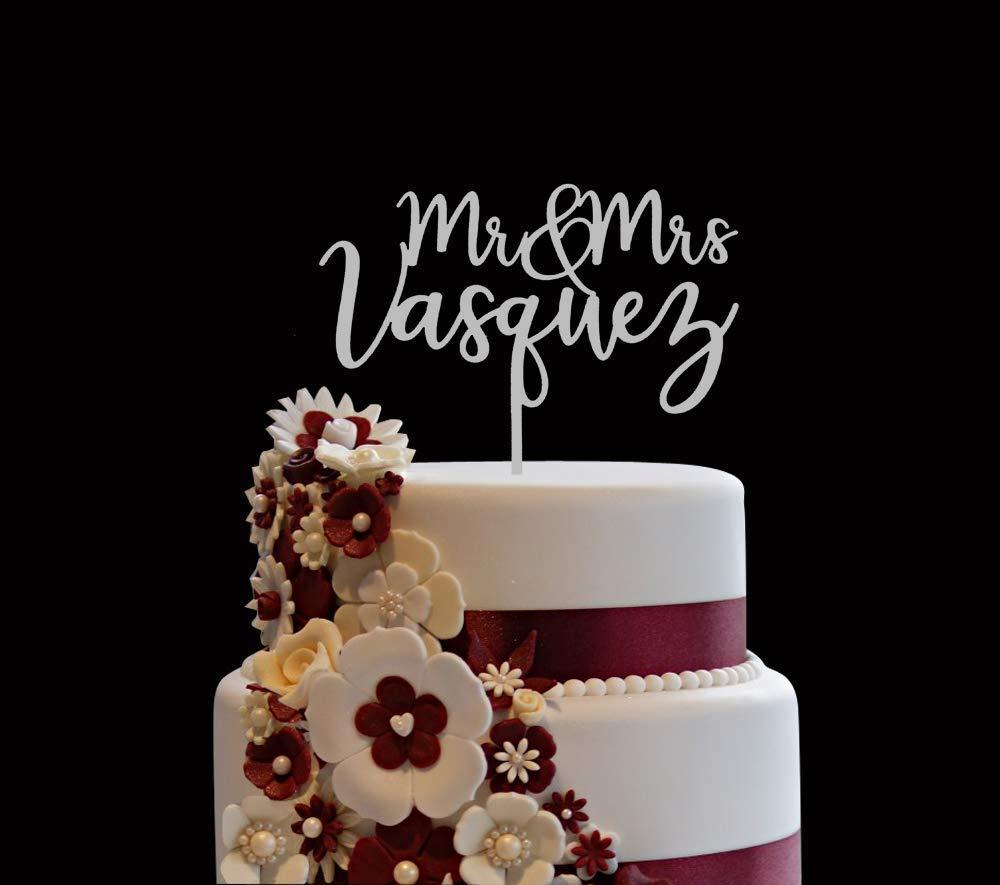 Customised Mr /& Mrs wedding cake topper Mr Mrs surname cake topper personalised