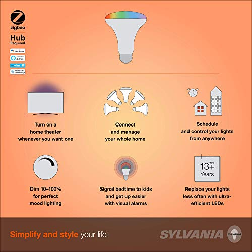 SYLVANIA SMART+ ZigBee Full Color and Tunable White BR30 LED Bulb, Works with SmartThings, Wink, and Amazon Echo Plus, Hub Needed for Amazon Alexa and Google Assistant, 1 pack