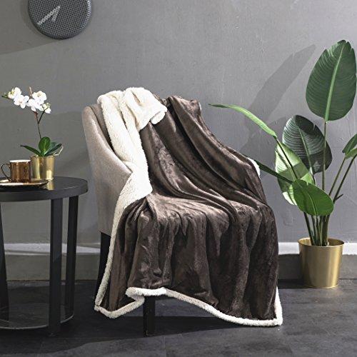 Sherpa Flannel Fleece Throw Blanket, Reversible Super Soft C