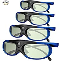 DLP Link 3D Glasses, GooDee Ultra-Clear HD 144 Hz 3D Active Rechargeable Shutter Glasses for All 3D DLP Projectors-BenQ, Optoma, Dell, Mitsubishi etc-4 pack