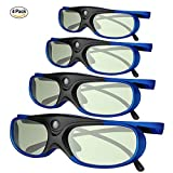 Electronics : DLP Link 3D Glasses, GooDee Ultra-Clear HD 144 Hz 3D Active Rechargeable Shutter Glasses for All 3D DLP Projectors-BenQ, Optoma, Dell, Mitsubishi etc-4 pack
