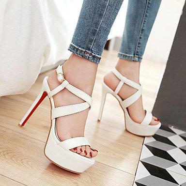 LvYuan Tacón Stiletto-Confort Tira en el Tobillo Zapatos del club-Sandalias-Boda Vestido Fiesta y Noche-PU-Negro Rojo Blanco Red