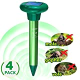 LOMEREY 4 Pack Solar Sonic Mole Repellent Gopher Repeller Ultrasonic Vole Chaser Mole Spike Rodent Repellant Ultrasonic Pest Deterrent Get Rid of Mole in Yard Outdoor Pest Control