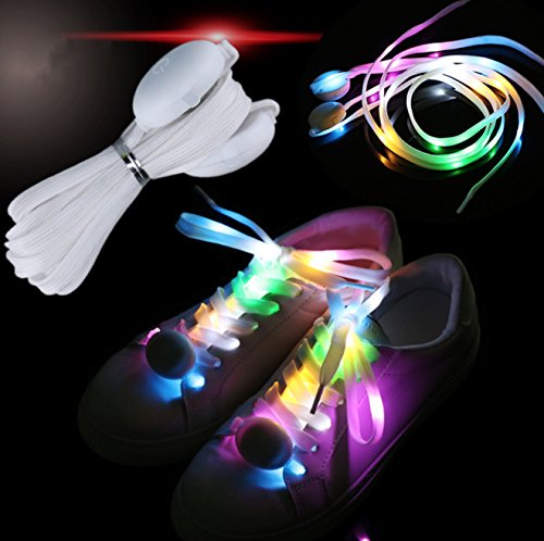 Multicolor LED Nylon Shoelaces Light up Shoe Laces Disco Flash Lighting The Night for Party Hip-hop Dancing Cycling Hiking Skating Shoestrings Light 1 Pair]()