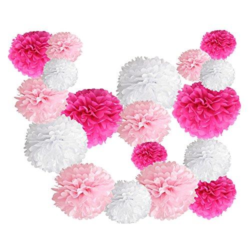 iEventStar 18 pcs Paper Tissue Pom Poms Wedding Party Decoration (White+Pink+Fuschia) ()