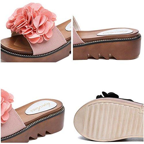 FEI Mädchen Sandalen Weibliche Sommer-Mode-Pantoffeln Dicke Pantoffeln Weibliche Outdoor-Sandalen für 18-40 Jahre alt Rutschfest ( Farbe : Schwarz , größe : EU39/UK6/CN39 ) Pink