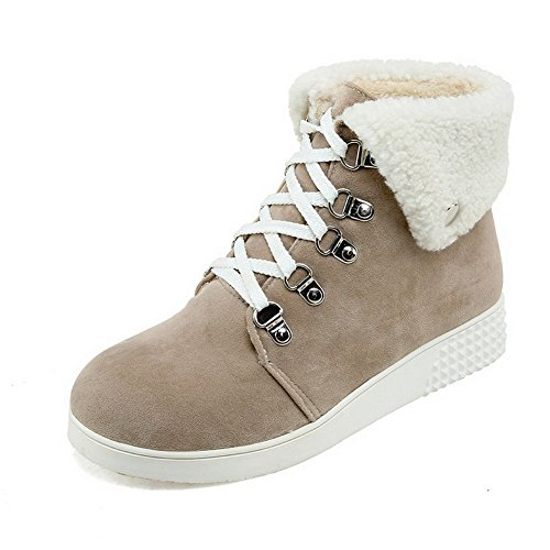 Allhqfashion Mujeres Round Round Tacones Bajos Frosted Low-top Solid Botas Beige