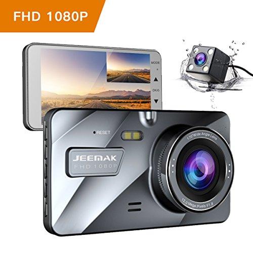 JEEMAK 4' IPS Dual Lens Car Dash Cam FHD 1080P Dashboard Camera 170 degree...