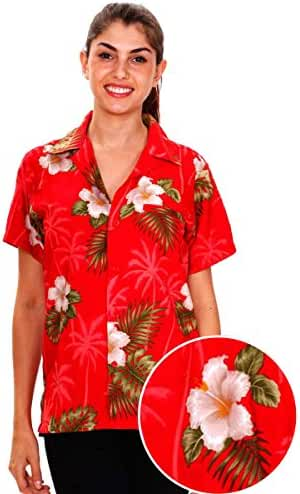 Funky Hawaiian Blouse Women Short-Sleeve Front-Pocket Flower Designs MultiColors