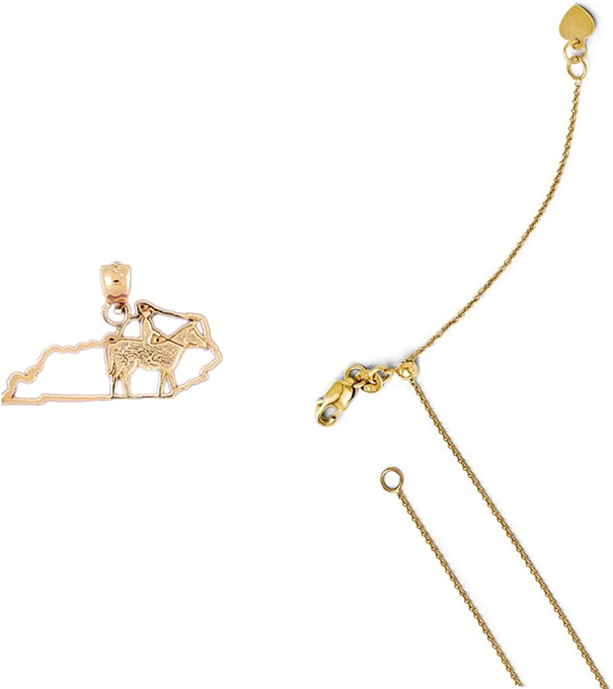 14K Yellow Gold Kentucky Pendant on an Adjustable 14K Yellow Gold Chain Necklace