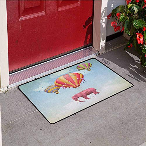 (Gloria Johnson Elephant Commercial Grade Entrance mat Pink Elephant in The Sky with Balloons Illustration Daydream Fairytale Travel for entrances garages patios W29.5 x L39.4 Inch Multicolor)