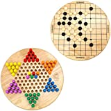 AQUEENLY Chinese Checkers with Gobang, 9.3-inch Wood Puzzle Board Game for Kids, Adults - Puzzle Toy Travel Game