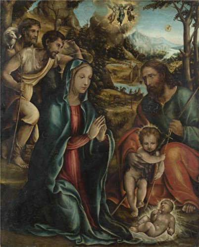 'Follower Of Sodoma The Nativity With The Infant Baptist And Shepherds ' Oil Painting, 30 X 37 Inch / 76 X 95 Cm ,printed On Perfect Effect Canvas ,this Cheap But High Quality Art Decorative Art Decorative Prints On Canvas Is Perfectly Suitalbe For Wall Art Gallery Art And Home Artwork And Gifts
