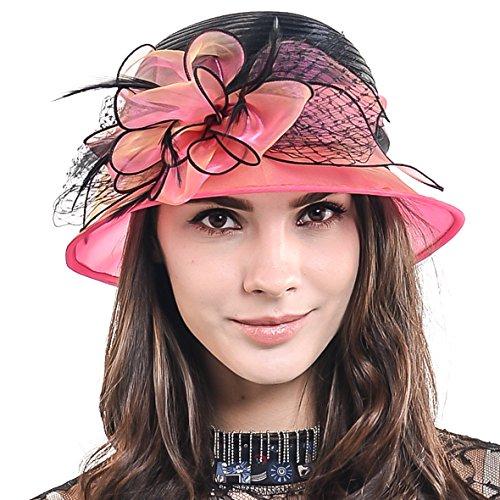 HISSHE Sweet Cute Cloche Oaks Church Dress Bowler Derby Wedding Hat Party S606-A, Rose, Medium