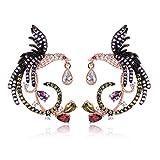 KnSam Earrings for Women Phoenix Teardrop Pierced Drop Earrings with Crystal Rhinestone Rose Gold Plated