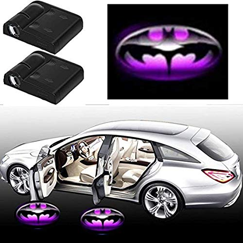 (3D Ghost Shadow Emblems Wireless Door Sensor Lights (2pcs), No DrillingLed Laser Door Shadow Light Welcome Projector Lamps Fits Ford, Audi, VW, Dodge, Toyota, Honda (Purple Batman))