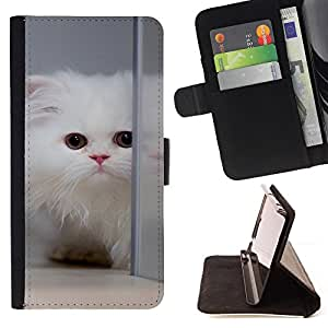 BullDog Case - FOR/Samsung Galaxy Note 4 IV / - / white cat longhair mirror big eyes cute /- Monedero de cuero de la PU Llevar cubierta de la caja con el ID Credit Card Slots Flip funda de cuer