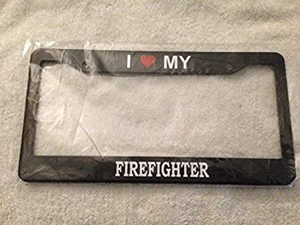 MY HEART BELONGS TO A FIREMAN fire man firefighter License Plate Frame
