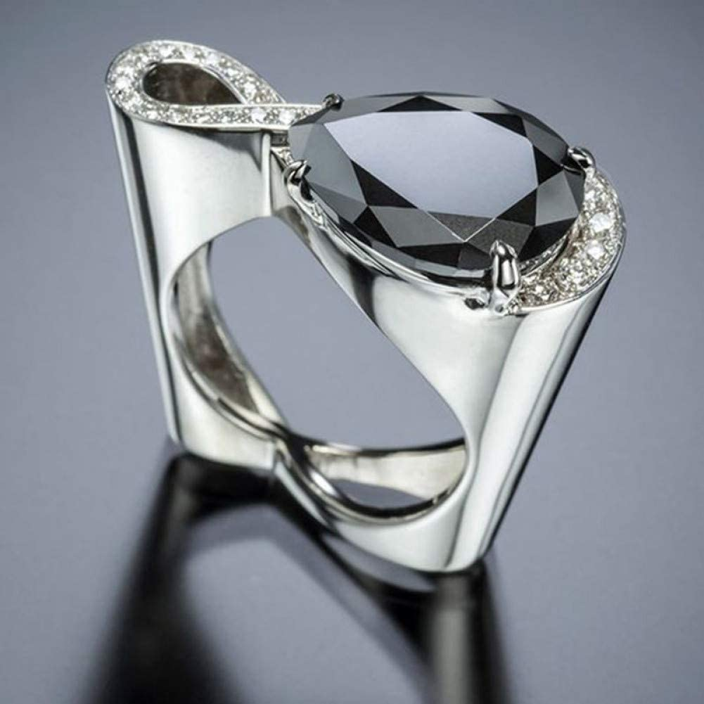 CTDMMJ Anillos de Cristal para Mujer Gran Gota de Agua Negra Anillo de Bodas de Piedra de circón Corazón Hueco Joyería de Plata