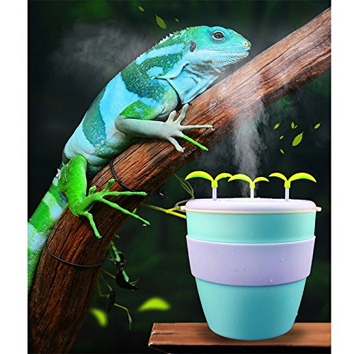 Petacc Pet Humidifier Mini Potted Plant Humidifier Ceramic Creative Reptile Tank Humidifier Turtle Moisturizing Anion Atomizer with Automatic Power-off Function, Suitable for Lizard, Green