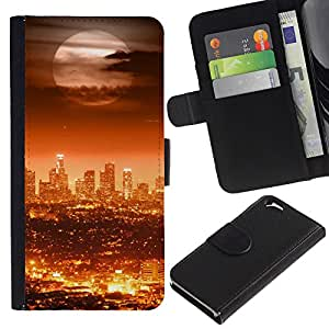Ihec-Tech / Flip PU Cuero Cover Case para Apple Iphone 6 4.7 - Full Moon Modern City