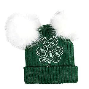 64792f4ad1a ThatsRad St. Patricks Day Double Pom Knit Beanie Hat Cap Shamrock Irish  Drinking Green