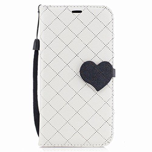 Yiizy Samsung Galaxy A5 (2017) Custodia Cover, Amare Design Sottile Flip Portafoglio PU Pelle Cuoio Copertura Shell Case Slot Schede Cavalletto Stile Libro Bumper Protettivo Borsa (Bianco)