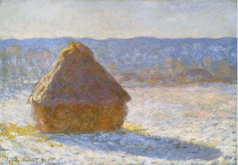 'Haystack In The Morning, Snow Effect, 1891 By Claude Monet' Oil Painting, 24x35 Inch / 61x88 Cm ,printed On Perfect Effect Canvas ,this Amazing Art Decorative Canvas Prints Is Perfectly Suitalbe For Laundry Room Gallery Art And Home Decoration And Gifts