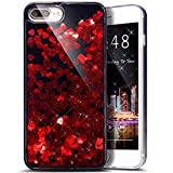 iphone 5 case red and black - For iPhone 5 iPhone 5s iPhone SE Black Floating Hearts Liquid Waterfall Bling Glitter Case (Red Hearts)