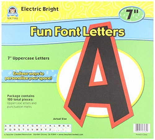 "Teacher Created Resources 77282 Electric Bright 7"" Fun Font Letters"