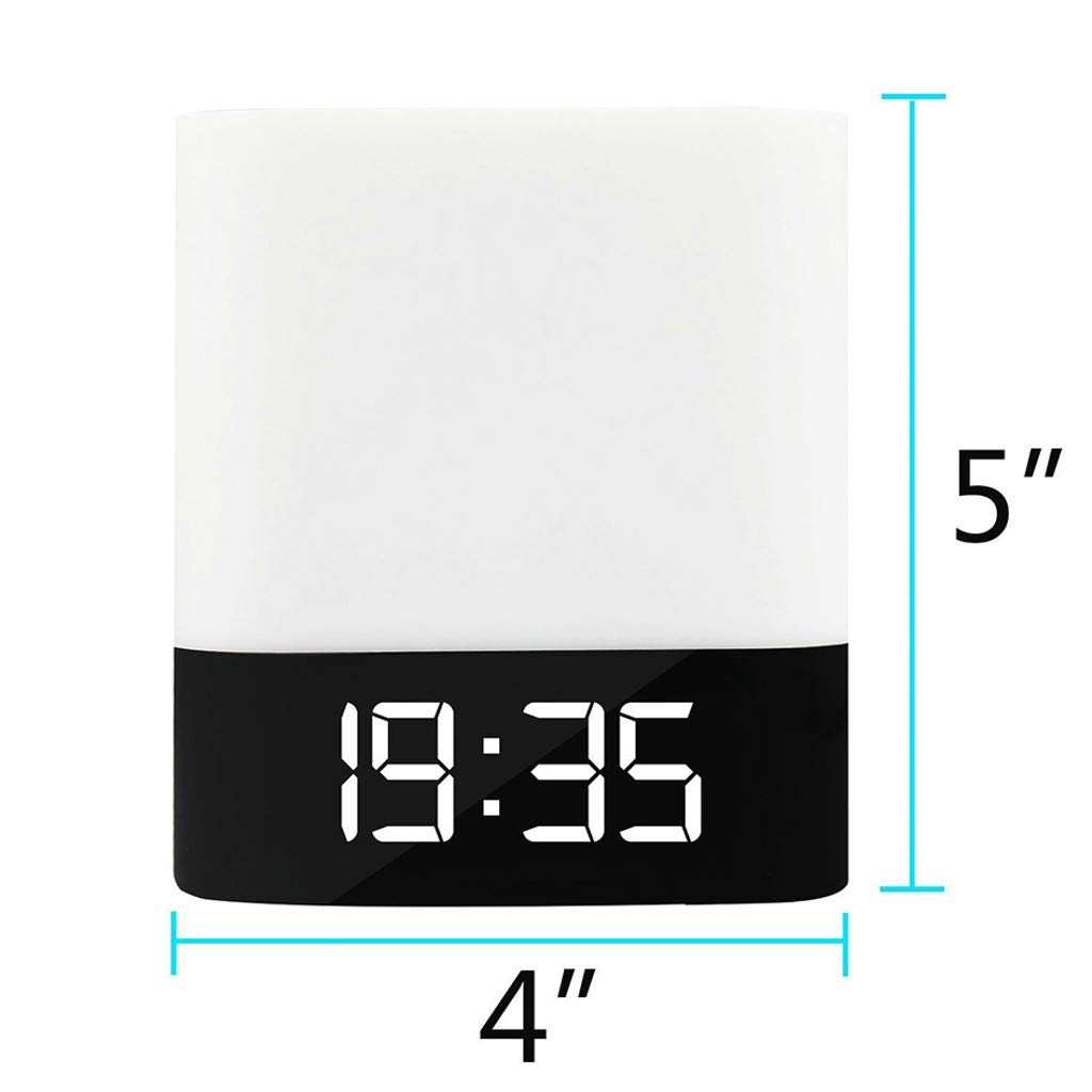 Weite 5-in-1 Wireless Bluetooth V4.0 Portable HiFi Speaker with Dimmable Smart Touch Control Color Changing Night Light, Digital Alarm Clock, MP3 Music Player, Hands Free Call (White) by Weite (Image #6)