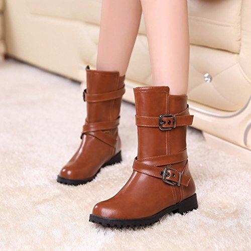 Mee Shoes Damen chunky heels kurzschaft runder toe Stiefel Gelb