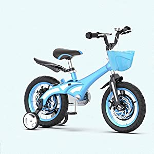 TXTC Toddlers Training Bikes, Kids Bike with Training Wheels and Basket,Balance Bike with Dual Disc Brake,Adjustable Handle,for Children's Boys and Girl Bicycle (Color : Blue-14 in)