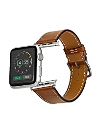Mifa - Best #1 Apple Watch Leather Strap Band Genuine Premium Soft Leather Wristband Link Bracelet Color Brown with Top Quality Stainless Steel Clasp Lugs for Apple Watch Sports/Edition 42 mm H3