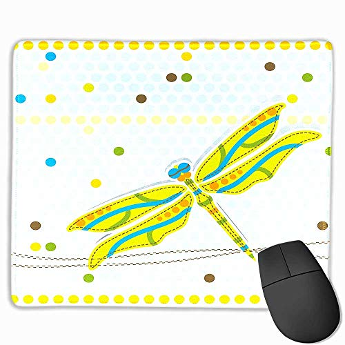 "Mouse pad Pink Glitter,Dragonfly Dragonfly Figure Over Little Circular Spots and Dots Kids Cartoon Lime Green Light Blue, 7""x8.5"""