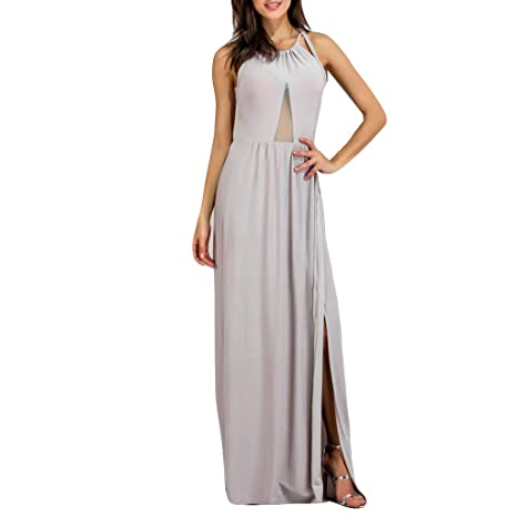 546dd12ac4d0 Amazon.com: Dianli Women Sexy Backless Long Dress, Pure Color Slit Hollow  Out Camisole Dress Women's Halter Mesh Gown Solid Color Stitching Split  Large Size ...